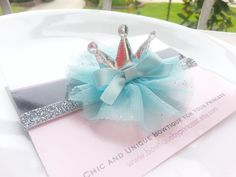 Baby Headband Silver Tiara Headband with by BowtiquebyprincessT, $7.90