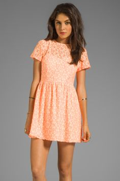 MM Couture by Miss Me Short Sleeve Lace Dress in Orange from REVOLVEclothing