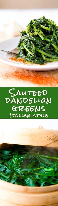 SAUTEED DANDELION GREENS ROMAN STYLE (cicoria alla romana) - Sauteed dandelion greens is a very important ingredient of Roman cuisine. For centuries the most poor Roman familys, use to harvest wild da Veggie Dishes, Vegetable Recipes, Vegetarian Recipes, Cooking Recipes, Healthy Recipes, Potato Recipes, Vegetable Sides, Dandelion Recipes, Kraut