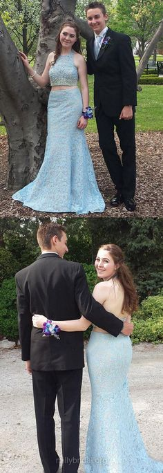 Blue Prom Dresses Backless, Long Formal Dresses Two Piece, Mermaid Party Dresses Halter, Lace Evening Gowns Beading