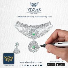 Home - Vivaaz Jewels Pvt. an exclusive diamond jewellery manufacturer in Mumbai Bridal Necklace, Bridal Jewelry, Jewelry Art, Gold Jewelry, Jewelry Necklaces, Jewellery Sketches, Jewellery Designs, Necklace Drawing, Jewelry Design Drawing