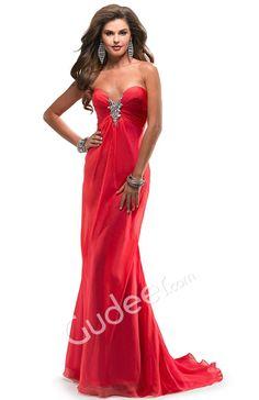 prom chiffon deep red strapless sweetheart a-line dress  from gudeer.com
