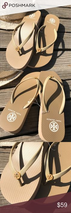 Tory Burch Flip Flops Beautiful neutral ( Italian Khaki) Tory Burch flip flops with wedge heel. Perfect for all your outfits this season!! Get it before they are gone!! sizes 7 and 8 Price Firm Tory Burch Shoes Sandals