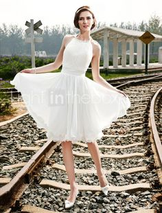 A-line Halter Knee-length Chiffon Wedding Dress - US$ 119.59