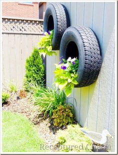 Tires as wall flower pots