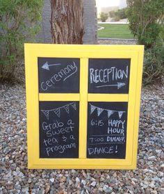 R U S T I C // Yellow Chalkboard. Rustic backyard or outdoor wedding decor #mustard #kitchen