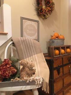 Flavors of Fall Home Tour Beige Neutral Farmhouse Style Fall Decor From the Family With Love squirrel, hydrangeas, give thanks, plaid afghan, pumpkins