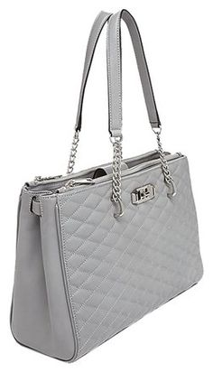 Rebecca Minkoff Quilted Leather New York Love Silver Hardware Tote in Charcoal