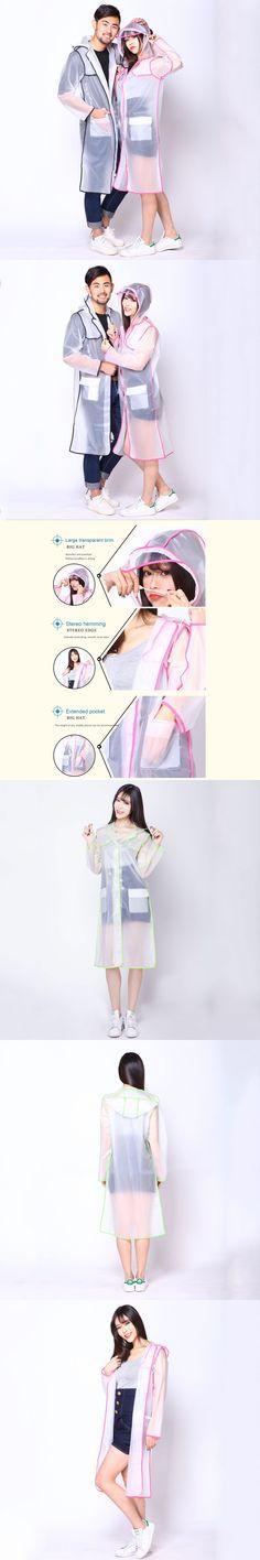 Raincoat EVA Transparent Clear Hoodie Raincoat Rainwear for Women Men Jackets Runway FS99