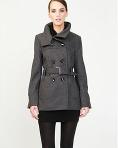 Melton Belted Pea Jacket from Le Chateau / #fashion #style #outerwear