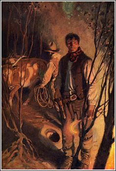 """Wyeth - Illustration from """"Langford of the Three Bars,"""" by Kate and Virgil Boyles Jamie Wyeth, Andrew Wyeth, Nc Wyeth, Old West, Western Art, American Artists, Traditional Art, Illustration Art, Illustrations"""
