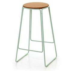 Smed Stool in Mint, Powder Coated Steel Frame with Cork Seat, H700mm x W400mm x D400mm. OX Design and Great Dane Furniture