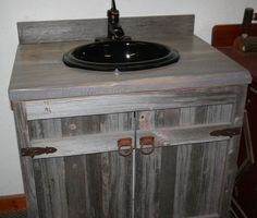 Weathered Gray Reclaimed Wood Bathroom Vanity. $585.00, via Etsy.