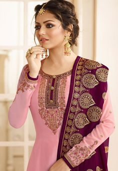 Product ID: Product is delivered Unstitched It can be custom-stitched upto bust Size 44 inches Work Type: Zari, Thread Embroidery & Stones Work Top Color: Pink Bottom Color: Pink Dupatta Color: Magenta Fabric of Top: Satin Georgette Botto Punjabi Suits Party Wear, Indian Party Wear, Party Wear Lehenga, Green Color Combination Dresses, Kurti Designs Party Wear, Salwar Designs, Embroidery Suits Design, Dress Neck Designs, Churidar Suits