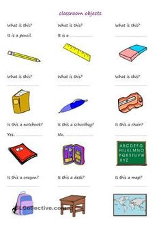 students answer questions about classroom objects - ESL worksheets