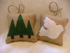 Woodland Burlap Ornaments White Dove and by VintageBloomDesign, $12.00