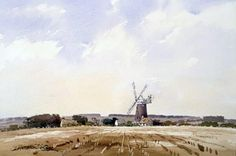 A Norfolk Windmill James Fletcher-Watson - Watercolour artist, paintings and art prints Pen And Watercolor, Watercolor Artists, Watercolor Landscape, Watercolor Paintings, Watercolor Ideas, Andrew Wyeth, Pen And Wash, Art Aquarelle, Oil Painters