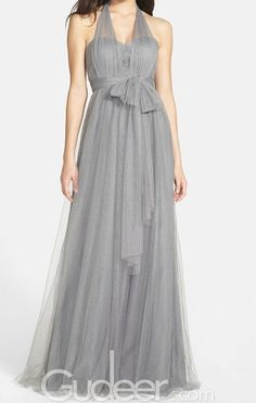 Ethereal Cheap Grey Tulle Long Bridesmaid Dress with Converted Straps