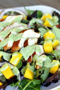 Blackened Chicken and Mango Salad with Creamy Avocado Dressing | Fabtastic Eats