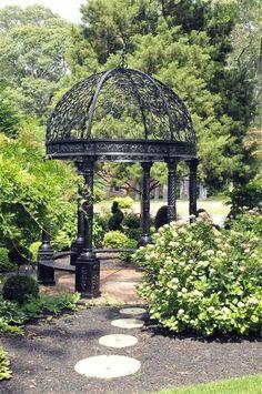 black garden pergola