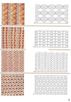 Collection of samples part 2 (hooks) – knitting charts Crochet Lovey Free Pattern, Crochet Stitches Chart, Crochet Motifs, Crochet Diagram, Knitting Charts, Afghan Crochet Patterns, Filet Crochet, Crochet Lace, Knitting Patterns
