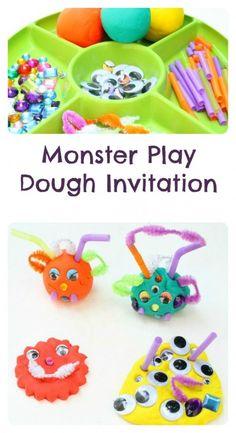 Monster Play Dough Invitation~Halloween Activity for Kids