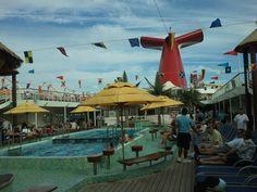 Pool / Lido Deck on Carnival Ecstasy - #carnivalcruise #cruiseship