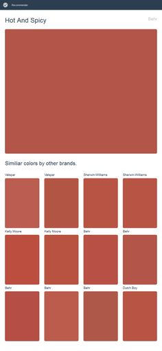 Hot And Spicy, Behr. Click the image to see similiar colors by other brands.