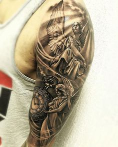 Second angel** jesus tattoo sleeve, samurai tattoo sleeve, portrait tattoo Jesus Tattoo Sleeve, Religious Tattoo Sleeves, Samurai Tattoo Sleeve, Engel Tattoos, Wolf Tattoos, Forearm Tattoos, Angel Sleeve Tattoo, Sleeve Tattoos, Trendy Tattoos