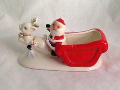 Vintage-Ceramic-Santa-Sleigh-And-Reindeer-Figurine-Tea-Light-Planter-Japan Santa Sleigh, Vintage Ceramic, Kitsch, Reindeer, Tea Lights, Vintage Christmas, Planters, Japan, Ceramics