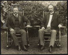Theodore Roosevelt and his vice president, Charles W. Fairbanks at Sagamore Hill, Oyster Bay, New York, 1904