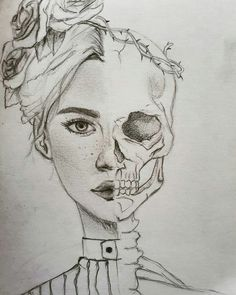 Skeleton Face Drawing, Half Face Drawing, Skeleton Drawings, Person Drawing, Drawing Faces, Scary Drawings, Dark Art Drawings, Art Drawings Sketches Simple, Pencil Art Drawings