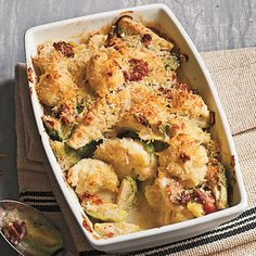Crispy Topped Brussels Sprouts and Cauliflower Gratin by Cooking Light