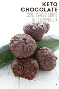 Chocolate Zucchini Muffins - Keto and Dairy-Free - All Day I Dream About Food Healthy Low Carb Recipes, Low Carb Dinner Recipes, Real Food Recipes, Keto Recipes, Keto Desserts, Healthy Food, Chili Recipes, Healthy Baking, Free Recipes