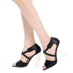 Black strappy peep toe ankle strap chunky heels Brand: Qupid Size: 8 New No box  Faux leather  Peep toe Strappy scoop vamp Two tone  Cross ankle strap closure  Chunky heel  Heel height : 4.5in Qupid Shoes Heels