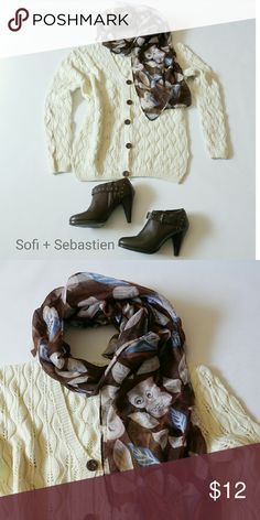 Cute owl scarf Autumn leaves nature lover brown Take your outfit to the next level with this cute all-season scarf!   Poly Measures approximately 31 by 72 inches  Sorry, NO TRADES  Price firm unless bundled   Save money and bundle! Save 10 percent on any bundle of 2 or more items! Sofi + Sebastien  Accessories Scarves & Wraps