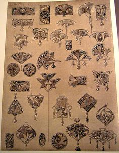 Art Nouveau Ginkgo designs by Else Strauss (1903-05)