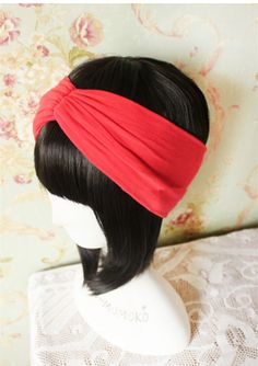 ON SALE Red Cotton Headband Red wide turban Red Yoga by LoveMomoko, $7.00
