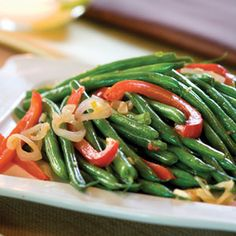 6-Ingredient or Less Vegetable Side Dishes  | Green Bean-and-Red Bell Pepper Toss | MyRecipes.com