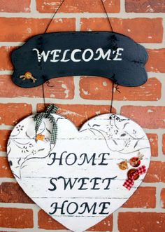 Home Sweet Home. - makbule makbulee Home Sweet Home. Home Sweet Home. Painted Wooden Signs, Wooden Decor, Wooden Diy, Small Wood Projects, Craft Projects, Projects To Try, Handmade Crafts, Diy And Crafts, Decoupage