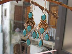 ***SOLD OUT*** Chandelier earrings with sterling silver gold by BijouxaLaCarte Chandelier Earrings, Drop Earrings, Victorian Jewelry, Turquoise, Sterling Silver, Crystals, Gold, Etsy, Beautiful