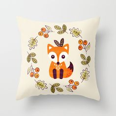 Adorable little fox with autumn berries throw pillow by Daisy Beatrice