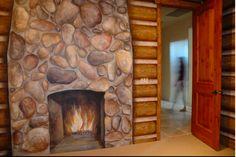 A log cabin inspired nursery.  Artwork by Carmen Illustrates.