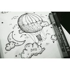 Time to #fly high with this #penandink #hotairballoon #airship #drawing by @stevetandra. Great use of #hatching and #linework on the #shading and there's something special about the #whimsical style of this #illustration is. This would make a cool #coloringbook piece too! Nice work Steve!
