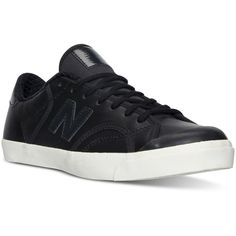 New Balance Women's Pro Court Casual Sneakers from Finish Line ($80) ❤ liked on Polyvore featuring shoes, sneakers, black, black low top shoes, vintage tennis shoes, new balance trainers, low top and black vintage shoes
