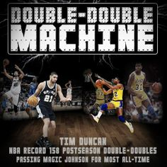 Tim Duncan passes Magic Johnson for the most career playoff double-doubles #Spurs
