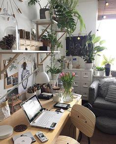 Karmi się Kindle, różowią się tulipany, śpiewa Björk a ja tu zatrzymałam się na chwilkę w szale sprzątania . . . . #interior #workspacie #workspacegoals #myhome #gabinet #HomeOffice #nature #naturlovers #plants #fern #greenroom #wnętrza #biuro #scandi #mypleace #home #homedecor #interiordesign #urbanjunglebloggers #urbanjungle #theworkspacie #IKEAIDEAS #