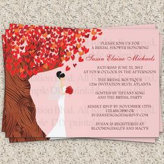 Love Tree Falling Hearts Fall Bridal Shower by InvitationBlvd, $10.99