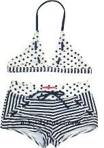 Girls' Kate Mack Nautical 50s Polka Dot and Stripe Bikini