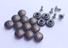 50 Sets  9 mm Antique Brass Vintage flower Rivet by punnysupply